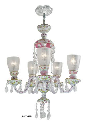 Antique Bohemian Glass 5 Arm Chandelier Circa 1920 - 1930 White Pink (ANT-428)