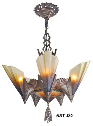 Antique-Art-Deco-Slip-Shade-Soleure-6-Light-Chandelier-(ANT-430)