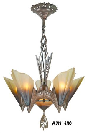 Antique Art Deco Slip Shade Soleure 6-Light Chandelier (ANT-430)