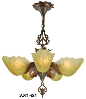 "Art Deco 5 shade Chandelier by Markel ""8800"" Series (ANT-434)"