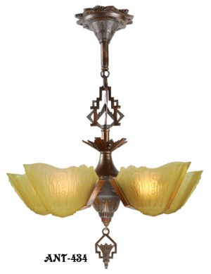 Art-Deco-5-shade-Chandelier-by-Markel-