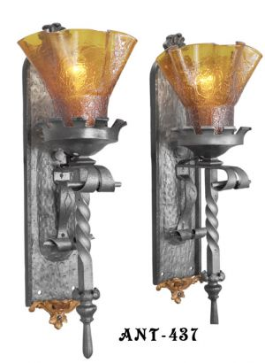 Pair of Gothic or Medieval Iron Sconces with Crackle Glass Shades (ANT-437)