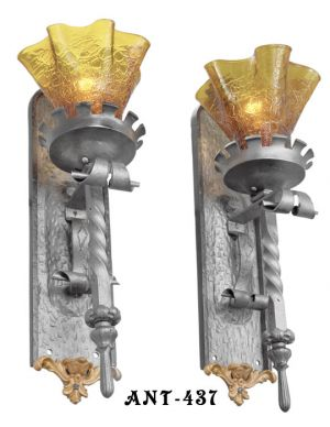 Pair-of-Gothic-or-Medieval-Iron-Sconces-with-Crackle-Glass-Shades-(ANT-437)