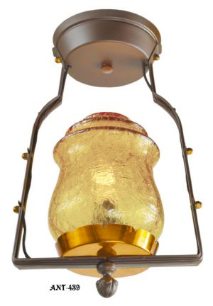Arts-and-Crafts-Crackle-Glass-Hall-Pendant-Light-Fixture-1920---1940-(ANT-439)