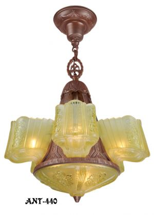 Art Deco Chandelier Circa 1930s Antique Slip Shade Ceiling Light (ANT-440)