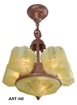 Art-Deco-Chandelier-Circa-1930s-Antique-Slip-Shade-Ceiling-Light-(ANT-440)
