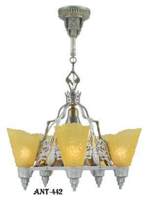 "Art-Deco-""Top-of-the-Line""-Slip-Shade-Chandelier-(ANT-442)"