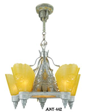 "Art Deco ""Top-of-the-Line"" Slip Shade Chandelier (ANT-442)"