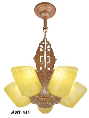 Art Deco Slip Shade 5 Light Chandelier (ANT-444)