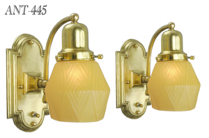 Art Deco Vintage Wall Sconces - Classic Simple Lights w/ Modernist Geometric Shades (ANT-445)