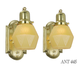 Art-Deco-Vintage-Wall-Sconces---Classic-Simple-Lights-w/-Modernist-Geometric-Shades-(ANT-445)