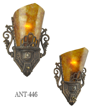 Art Deco Style Pair of Antique Original Restored Wall Sconces with Mica Shades (ANT-446)