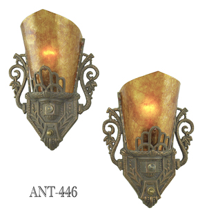 Art-Deco-Style-Pair-of-Antique-Original-Restored-Wall-Sconces-with-Mica-Shades-(ANT-446)
