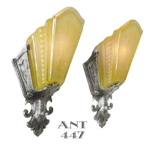 Art-Deco-Pair-of-Slip-Shade-Antique-Wall-Sconces-Circa-1930-by-Virden-(ANT-447)