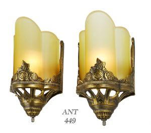 Art Deco Antique Wall Sconces with Amber Serpentine Slip Shades & Floral Motif (ANT-449)