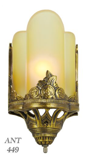 Art-Deco-Antique-Wall-Sconces-with-Amber-Serpentine-Slip-Shades-&-Floral-Motif-(ANT-449)
