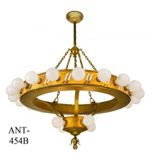 Large Bare Bulb Antique 1920's Bank Chandelier (ANT-454B)