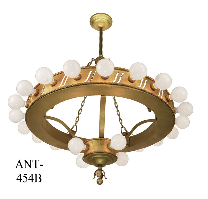 Items Similar To Lighting Rustic Chandelier Vintage 1920 S: Large-Bare-Bulb-Antique-1920's-Bank-Chandelier-(ANT-454B