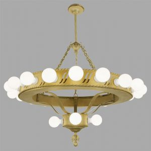 Large Bare Bulb 1920's Bank Chandelier (ANT-454)