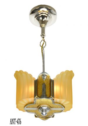Art Deco Antique Slip Shade Two Light Ceiling Pendant by Mid West Mnf (ANT-476)