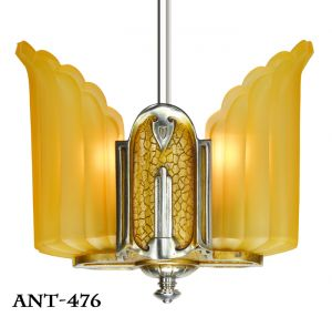 Art-Deco-Antique-Slip-Shade-Two-Light-Ceiling-Pendant-by-Mid-West-Mnf-(ANT-476)