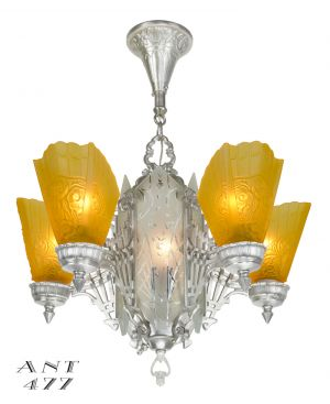 Art Deco 1930s Chandelier with Amber Slip Shades and Cut Glass Center (ANT-477)