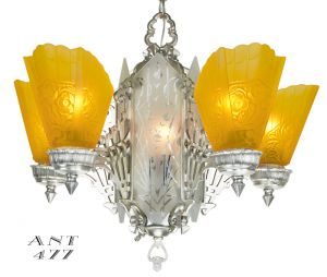 Art-Deco-1930s-Chandelier-with-Amber-Slip-Shades-and-Cut-Glass-Center-(ANT-477)