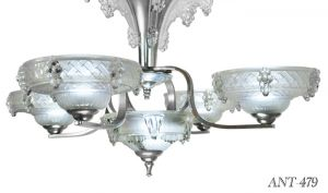 French-Art-Deco-5-Light-Ezan-Icicle-Chandelier---Rewired-for-LED-(ANT-479)