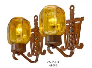 Art Deco or Arts and Crafts Style Pair of 1920 Antique Wall Sconces (ANT-481)