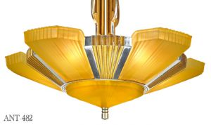 Art-Deco-Streamline-6-Light-Chandelier-by-Mid-West-Mnf-Circa-1935---1937-(ANT-482)