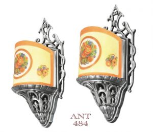 Art Deco Antique Original Slip Shade Sconces by Lightolier (ANT-484)