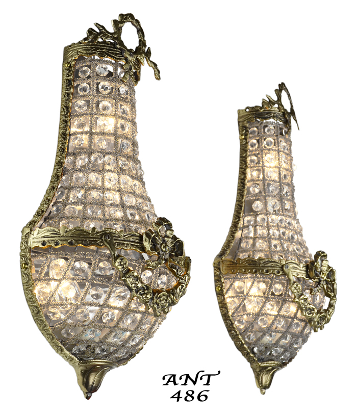 Vintage Hardware Lighting Antique French Basket Style Crystal Wall Sconce Lights Pair Ant 486