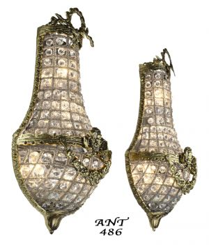 Antique French Basket Style Crystal Wall Sconce Lights - Pair (ANT-486)