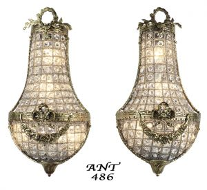 Antique-French-Basket-Style-Crystal-Wall-Sconce-Lights---Pair-(ANT-486)