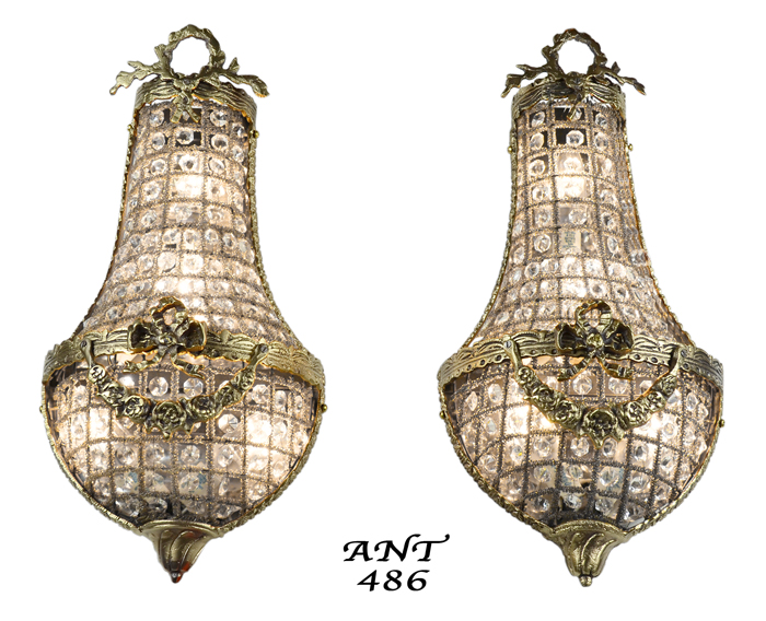 Antique French Basket Style Crystal Wall Sconce Lights Pair Ant 486