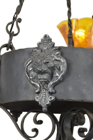 Gothic-Victorian-Wrought-Iron-Lion-Head-Motif-Chandeliers---PAIR-(ANT-488)