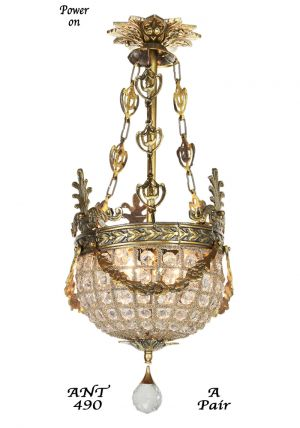 Pair of Vintage European Victorian Basket Style Crystal Ball Chandeliers (ANT-490)