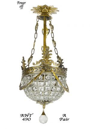 Pair-of-Vintage-European-Victorian-Basket-Style-Crystal-Ball-Chandeliers-(ANT-490)
