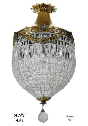 French-Crystal-Basket-Style-Brass-Chandelier---Vintage-Ceiling-Light-(ANT-491)