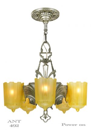 Art Deco Antique 5 Light Slip Shade Chandelier Circa 1935 by Lincoln Mnf (ANT-492)