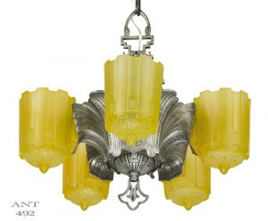 Art-Deco-Antique-5-Light-Slip-Shade-Chandelier-Circa-1935-by-Lincoln-Mnf-(ANT-492)