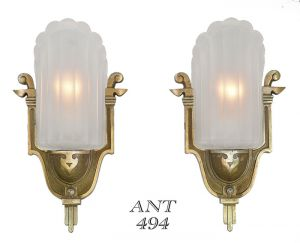 Antique-Art-Deco-Wall-Sconces-by-Mid-West-Circa-1935-Slip-Shade-Lights-(ANT-494)
