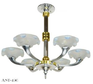 Streamline Art Deco Petitot Chandelier Circa 1930 Rewired for LED (ANT-496)