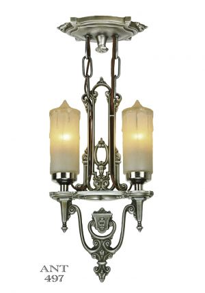 Art Deco Antique Candle Style Ceiling Pendant Light by Riddle (ANT-497)