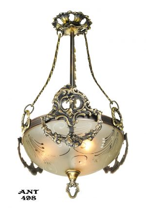 Antique Edwardian Ceiling Bowl Pendant Light Fixture Circa 1910 - 1930 (ANT-498)