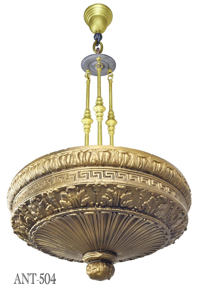 Edwardian Cast Composition Plaster Ceiling Bowl Chandelier Lights Ant 504