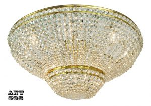 Crystal Semi Flush Mount Ceiling Light Large Diameter Vintage Chandelier (ANT-508)