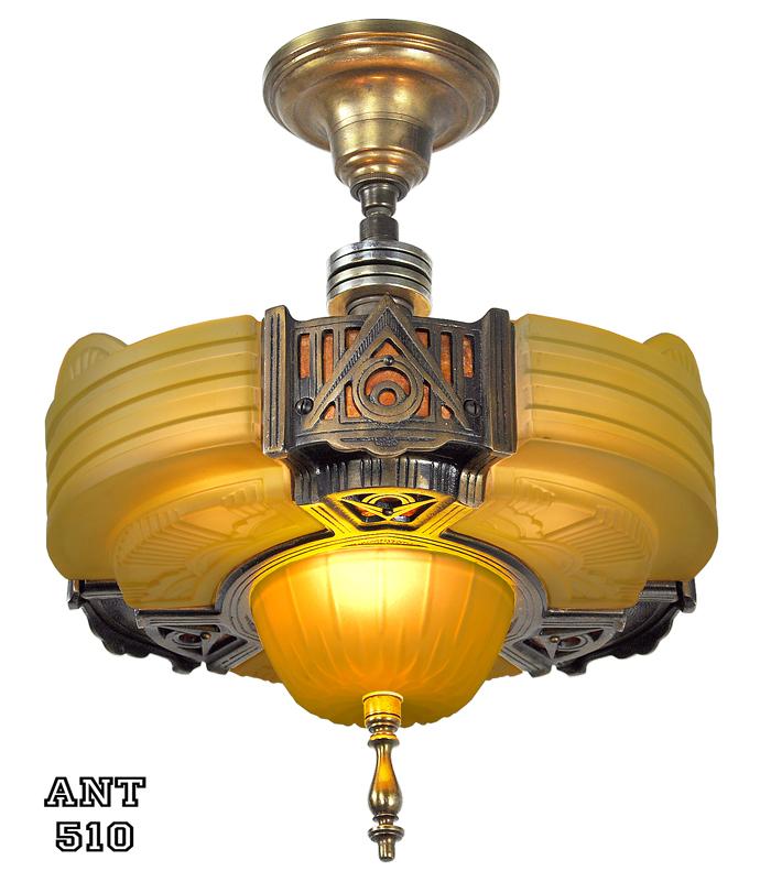 Vintage Hardware Lighting Art Deco Streamline Slip Shade Semi Flush Mount Close Ceiling Light By Globe Ant 510