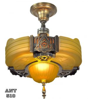 Art Deco Streamline Slip Shade Semi Flush Mount Close Ceiling Light by Globe Lighting (ANT-510)