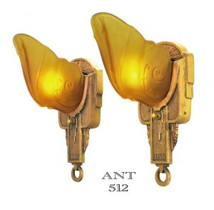 Art Deco Pair of Antique Slip Shade Wall Sconces by Markel Circa 1930s (ANT-512)